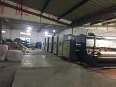 纺织厂出售3.6米无纺布生产线 五台3.6米高速针刺机 双锟热扎机 成卷机等